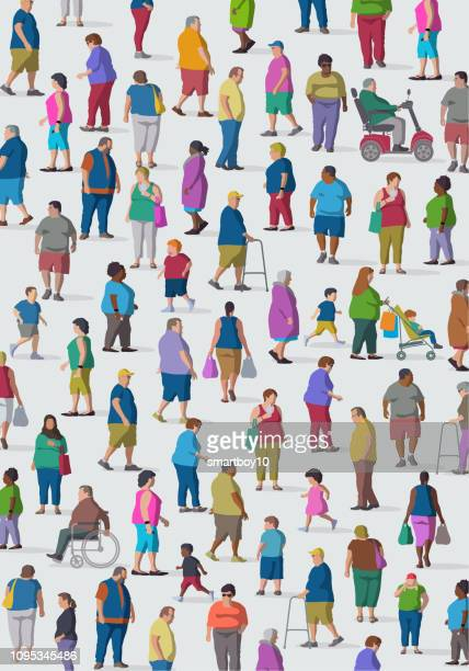 diverse group of overweight people - body conscious stock illustrations, clip art, cartoons, & icons