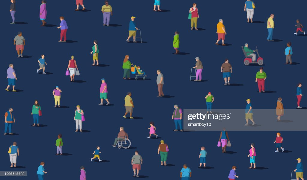 Diverse Group of Overweight People : stock illustration