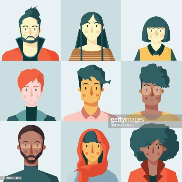 多様な人々がビデオ会議を通じてコミュニケーションを取る - バーチャルイベント点のイラスト素材/クリップアート素材/マンガ素材/アイコン素材