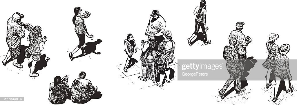 Diverse Groups of Real People at Summer Food Truck Festival : stock illustration