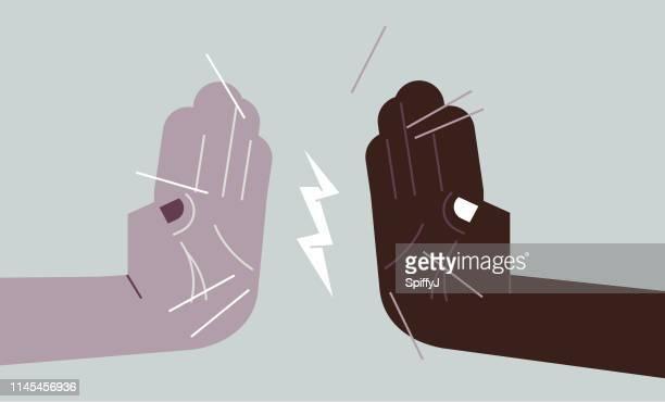 vielfältige hände hoch fünf - high five stock-grafiken, -clipart, -cartoons und -symbole