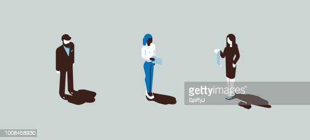 diverse isometric vector people - figurine stock illustrations, clip art, cartoons, & icons