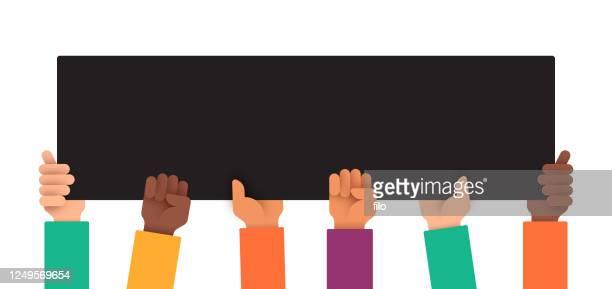 illustrazioni stock, clip art, cartoni animati e icone di tendenza di diverse multi-ethnic protest people holding up sign - giustizia sociale
