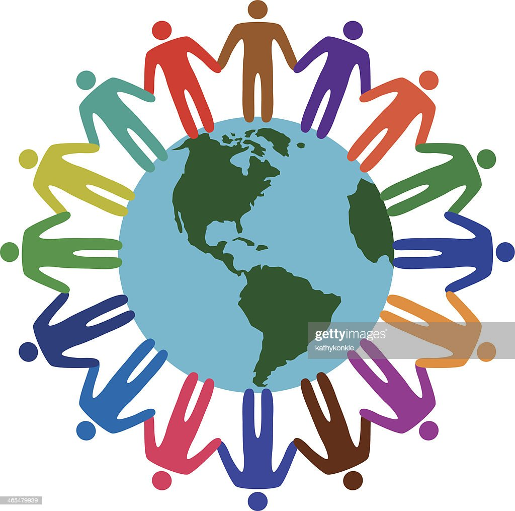 Diverse People Holding Hands Around The World Vector Art