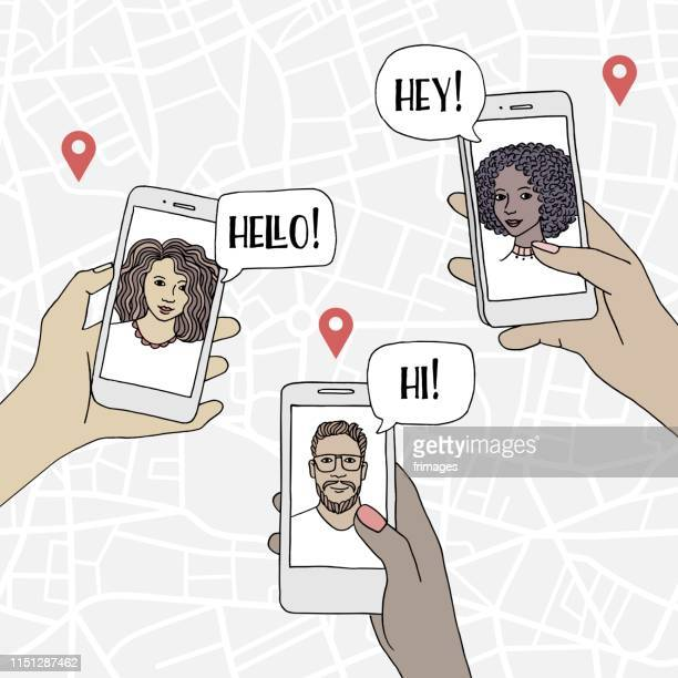 Diverse people holding their smartphone and chatting