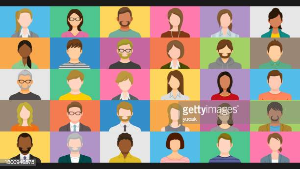 diverse people on online group video chat screen - headshot stock illustrations