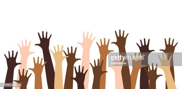 diverse raised hands - diversity stock illustrations