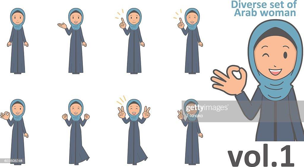 Diverse set of arab women , EPS10 vector format vol.1