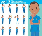 Diverse set of black male nurse on white background vol.2