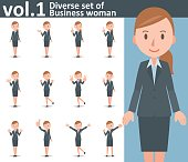 Diverse set of business woman on white background vol.1