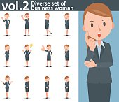 Diverse set of business woman on white background vol.2