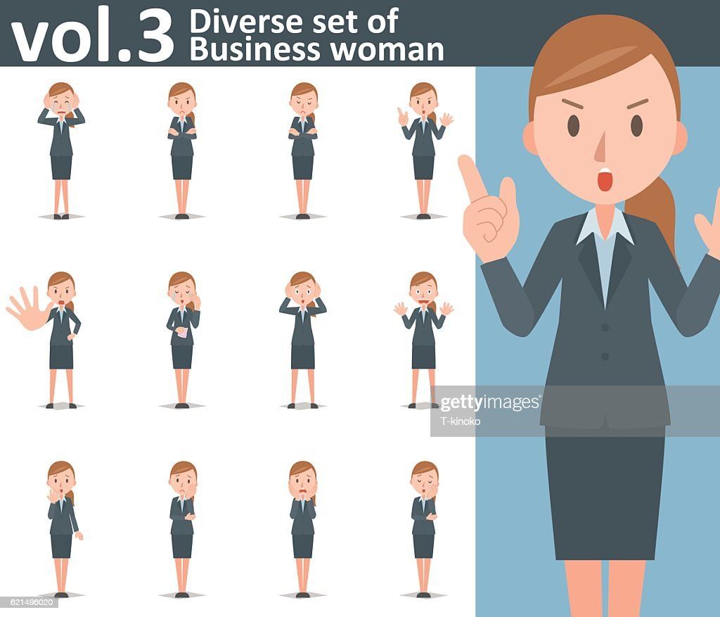 Diverse set of business woman on white background vol.3