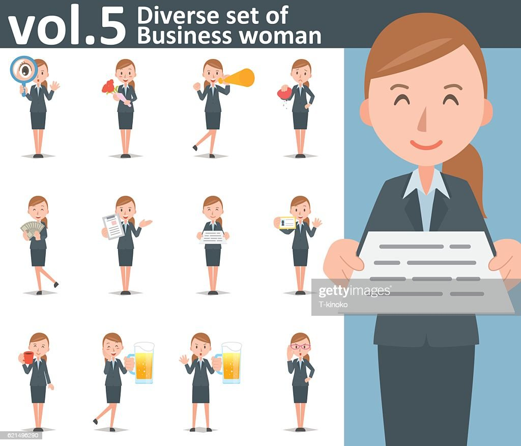 Diverse set of business woman on white background vol.5