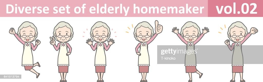 Diverse set of elderly homemaker, EPS10 vol.02