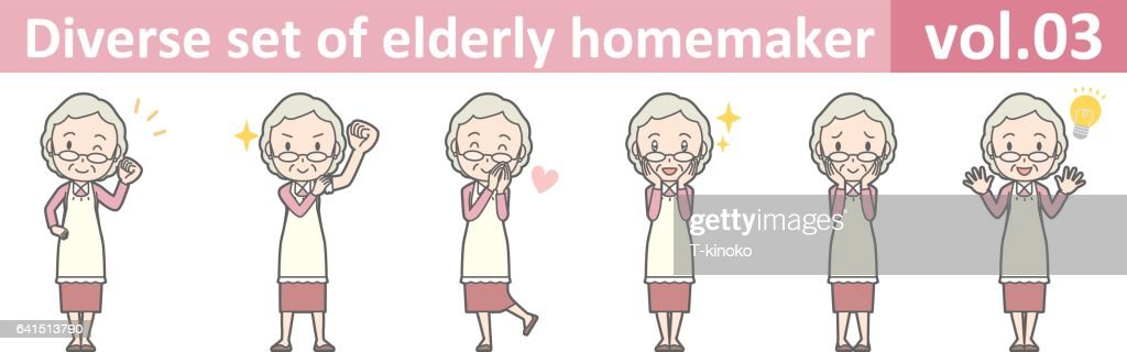 Diverse set of elderly homemaker, EPS10 vol.03