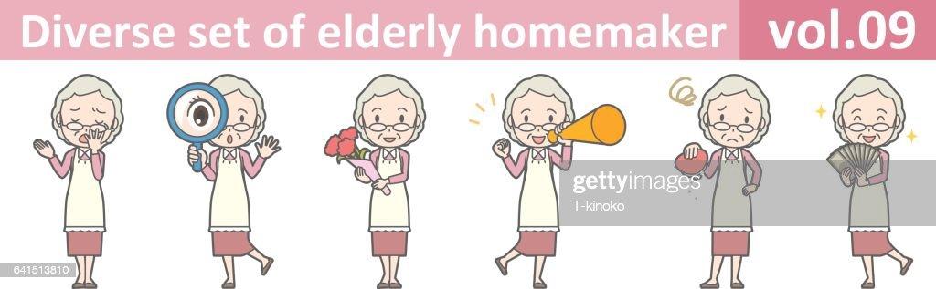 Diverse set of elderly homemaker, EPS10 vol.09