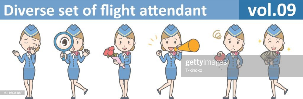 Diverse set of flight attendant, EPS10 vol.09