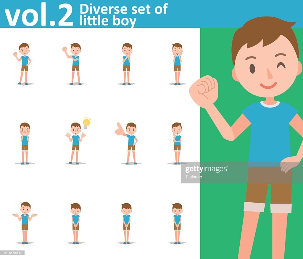 diverse set of little boy on white background vol2 vector art