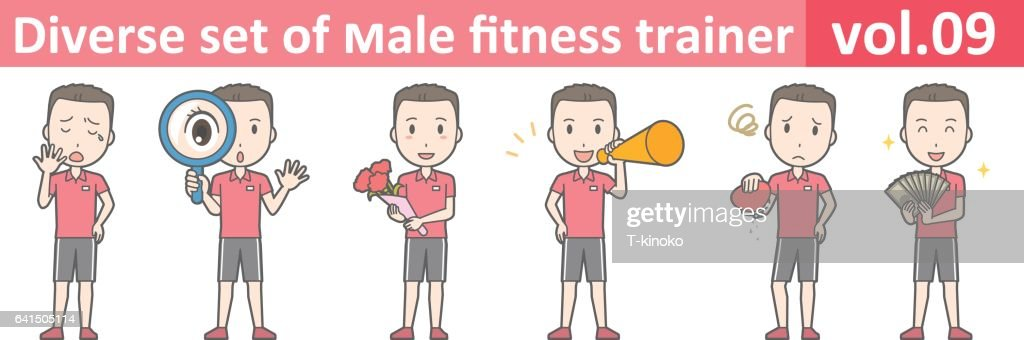 Diverse set of male fitness trainer, EPS10 vol.09