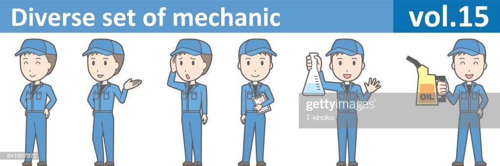 Diverse set of mechanic, EPS10 vol.15 (Young mechanic in blue uniform)
