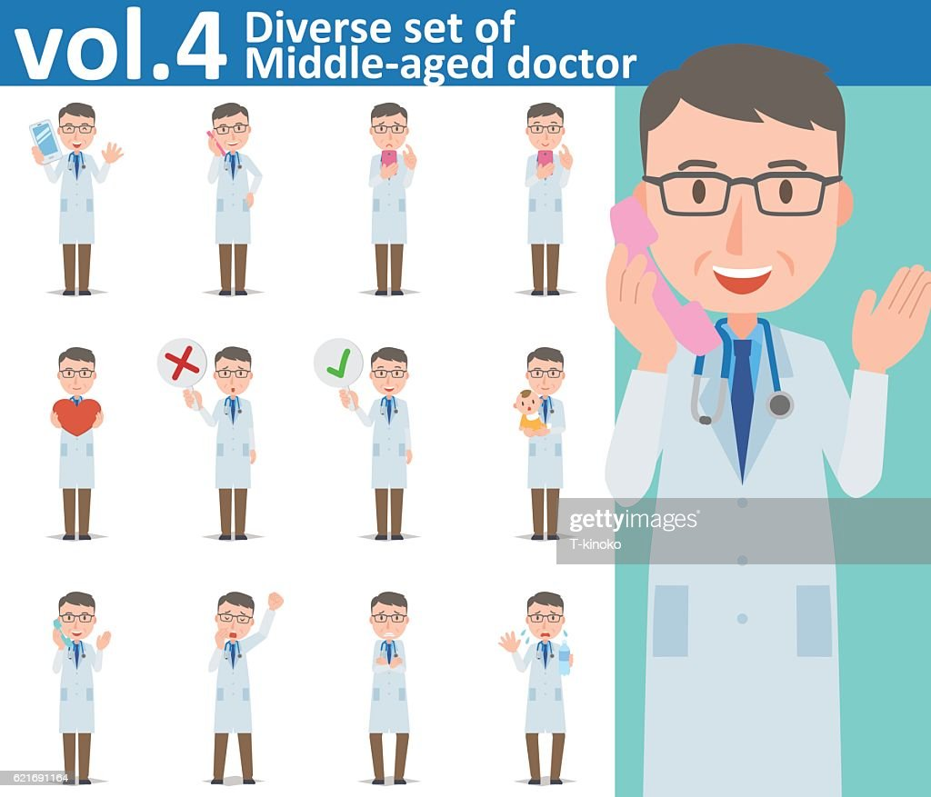 Diverse set of Middle-aged doctor on white background vol.4