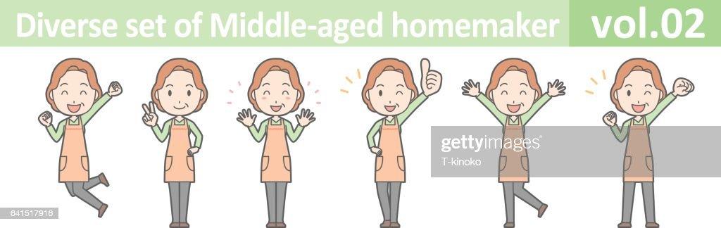 Diverse set of middle-aged homemaker, EPS10 vol.02