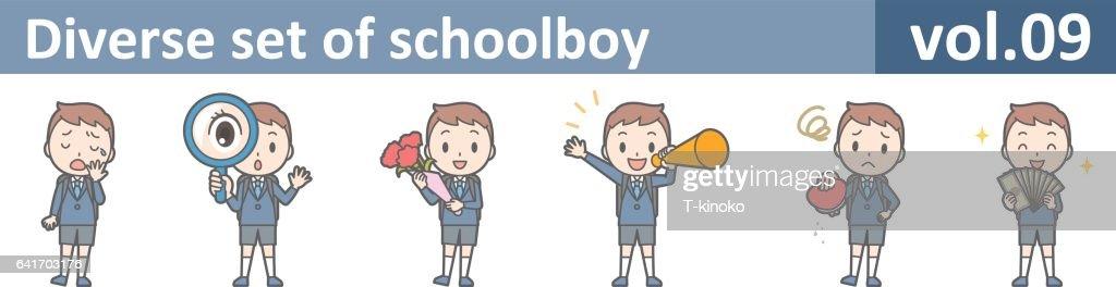 Diverse set of schoolboy, EPS10 vol.09