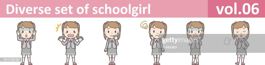 Diverse set of schoolgirl, EPS10 vol.06
