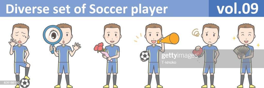Diverse set of Soccer player, EPS10 vol.09
