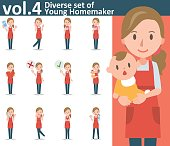 Diverse set of yong homemaker on white background vol.4