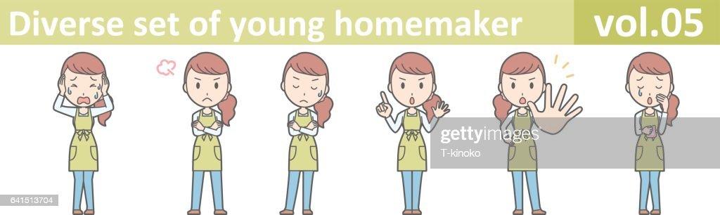 Diverse set of young homemaker, EPS10 vector format vol.05