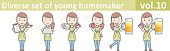 Diverse set of young homemaker, EPS10 vector format vol.10