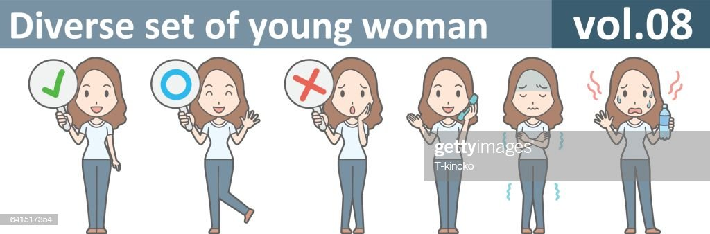 Diverse set of young woman, EPS10 vol.08