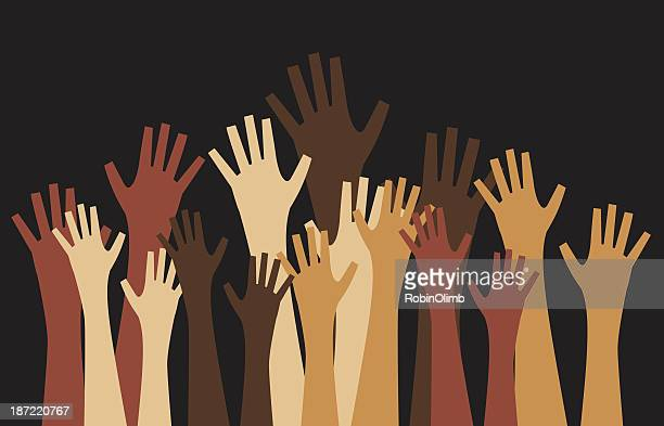 diverse sets of hands reaching up on black background - diversity stock illustrations