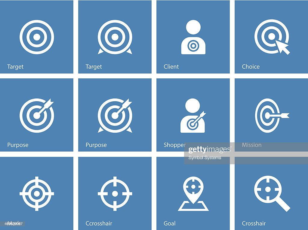 Diverse target icons on blue background