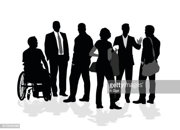 diversity group - wheelchair stock illustrations, clip art, cartoons, & icons
