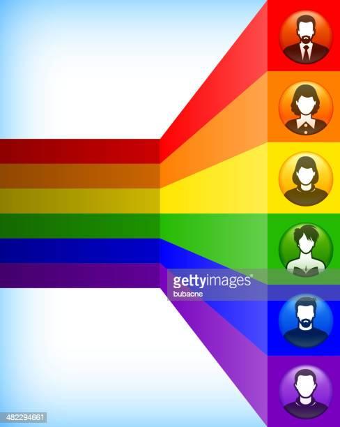 Diversidade, de espectro e de luz do botão de Pessoas