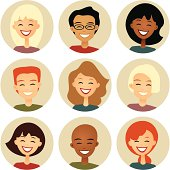 Diversity: Nine Smiling Faces in Cirles: Retro style