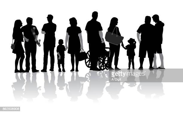 diversity sidewalk crowds - disability stock illustrations, clip art, cartoons, & icons