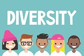Diversity sign. A group of multinational people