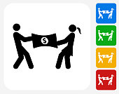 Dividing Money Icon Flat Graphic Design