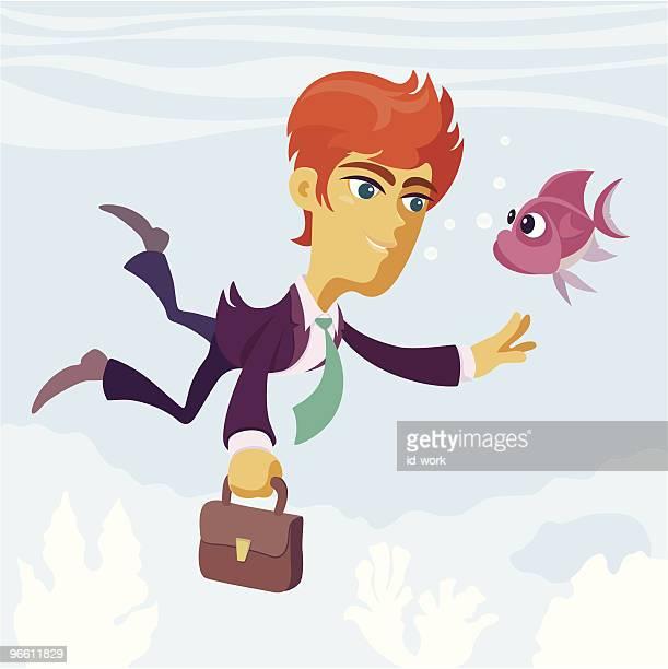 diving businessman