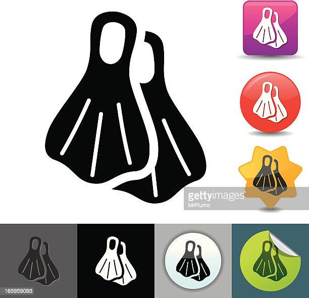 diving flippers icon | solicosi series - diving flipper stock illustrations, clip art, cartoons, & icons