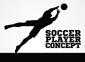Diving Goal Keeper Silhouette Soccer Player