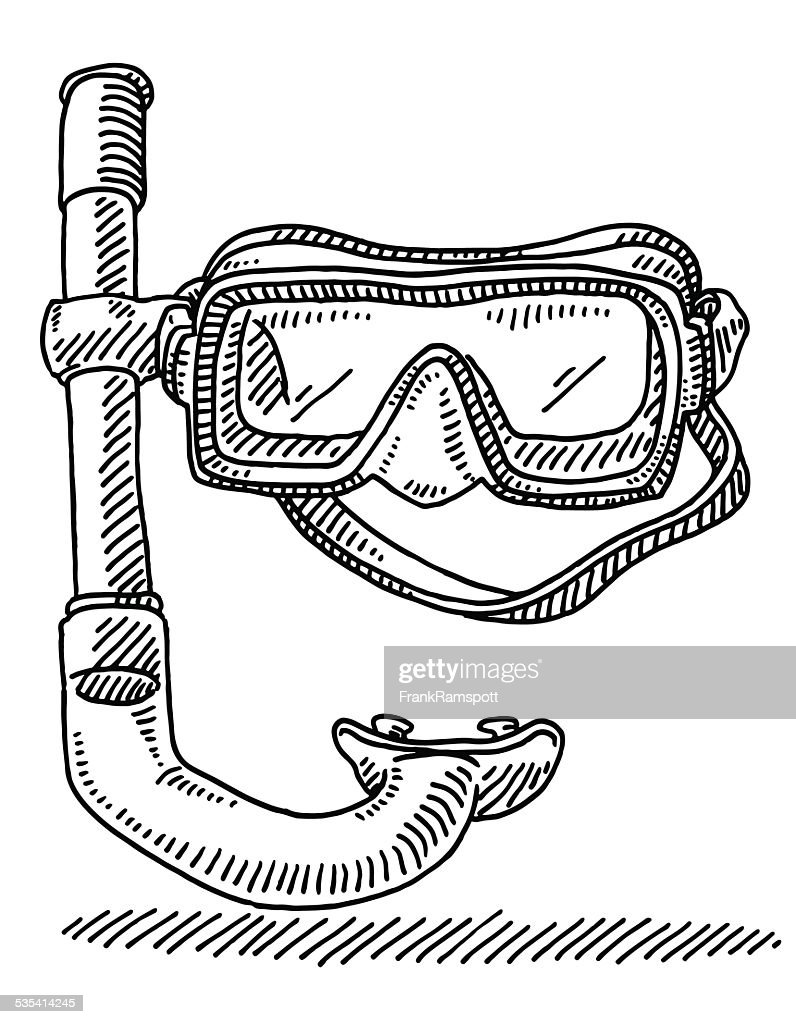 Diving Goggles Snorkel Drawing