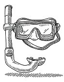 Diving Goggles Snorkel Drawing