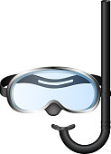 Diving goggles with snorkel