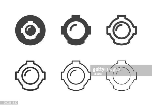 ダイビングヘルメットアイコン - マルチシリーズ - 水に飛び込む点のイラスト素材/クリップアート素材/マンガ素材/アイコン素材