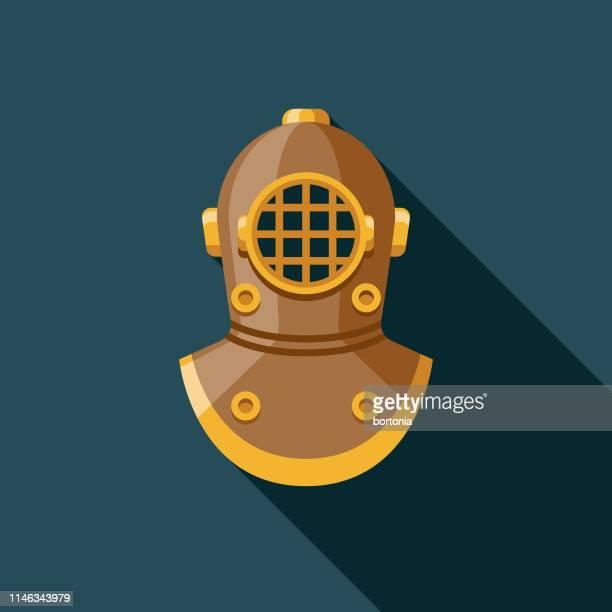 diving helmet nautical flat design icon - scuba diving stock illustrations