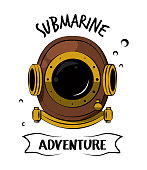 Diving helmet print for tshirt